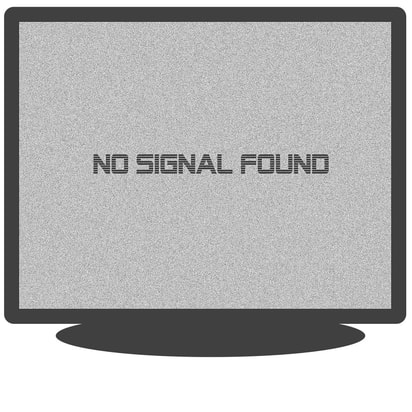 a tv with a blurred no signal effect on the screen